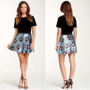 Lily White Blue Geometric Full Sequin Skater Skirt